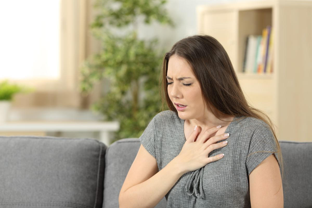 woman short of breath